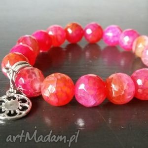 bransoletka z fasetowanego agatu, biżuteria, bransoletka, różowa, agat