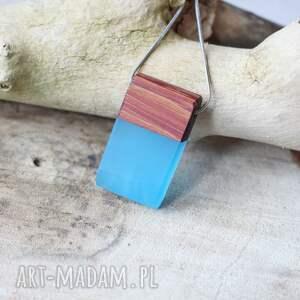 drewniany naszyjnik z żywicą prostokącik, żywica, prostokąt, żywicy