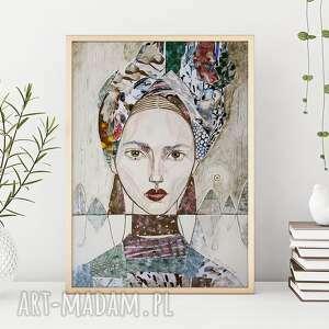 plakat a2 - kobieta w turbanie, plakat, wydruk, portret, kobieta, twarz