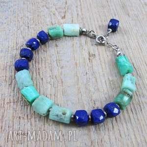 lapis lazuli z chryzoprazem - bransoletka, lapis, srebro, bransoletka