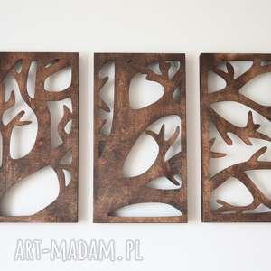 ażurowy obraz / drzewo drewniany tryptyk gałęzie, drewno, vintage, tryptyk
