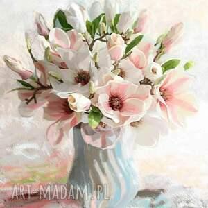 renata bulkszas obraz na płótnie magnolie w wazonie 40 x 50, obrazy kwiaty