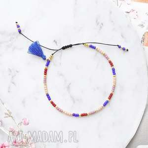 bransoletka koralikowa minimal - blue autumn, japońskie szklane koraliki toho