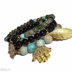 świąteczny prezent, komplet amulet 3 bransoletki, hamsa, ręka, jaspis