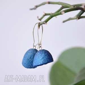 jedwabne kolczyki - intensywny niebieski, wiszące, jedwabne, kokony, lekkie
