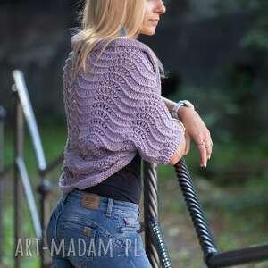 swetry lawendowe bolerko, ręcnie robione, lawendowy, krótki sweterek