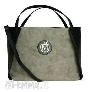 MANZANA KLASYCZNY KUFEREK torebka muflon siwy, torebka, kuferek, miejski, modna, duża