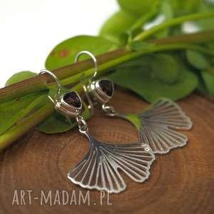 Miłorząb z kwarcem dymnym jachyra jewellery liście, natura