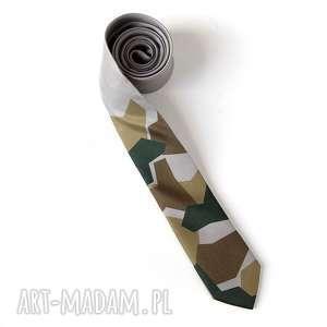 święta, krawat z nadrukiem moro, krawat, nadruk, prezent, szary, śledzik