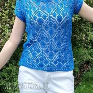 Niebieska, ażurowa bluzeczka na lato bluzki elma22 ażurowa, lato