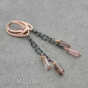 turmalin w czarnym srebrze i różowym złocie. Kolczyki 063