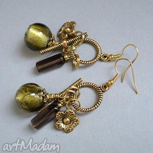 pod choinkę prezent, złota oliwka, złoto kolczyki