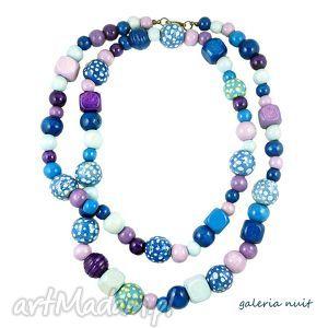 unikalny prezent, korale wiosna - odcienie blue, drewniane, lekkie, długie, malowane