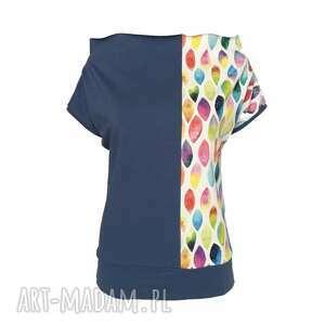 Pastelowa bluzka z kolorowymi łezkami, niebieska-bluzka, bluzka-z-wzorem