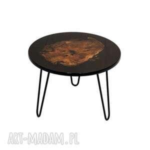okrągły stolik kawowy z żywicą, platan, stolik, drewno, żywica, połysk, lakier