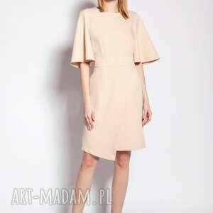 sukienka dopasowana, suk187 beż, wyjściowa, elegancka, wiskoza, krótki rękaw
