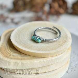 morski - pierścionek ze szklanymi kryształkami, delikatny