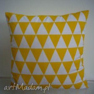 handmade poduszki poduszka w żółto - białe romby