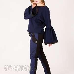 spodnie dwukolorowe bawełniane, dwukolorowe, zwężane, kontrast, proste