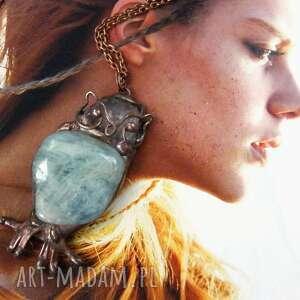 Witrazka: naszyjnik: sowa z akwamarynem, naszyjnik z kamieni, kamienie naturalne, wisior z kamieniem