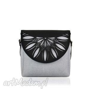 torebka puro 820 light grey cutout, wymienne, klapki, ażurowa, szara, elegancka