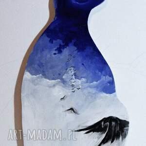 obrazy obraz stratosfera malowany na drewnie w kształcie kota artystki adriany laube
