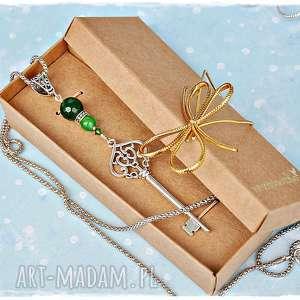 magiczny klucz - długi naszyjnik z jadeitem, naszyjnik, wisior, klucz, jadeit
