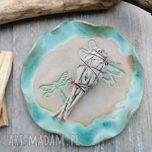 ręcznie zrobione ceramika ceramiczny talerz, ważki (c216)