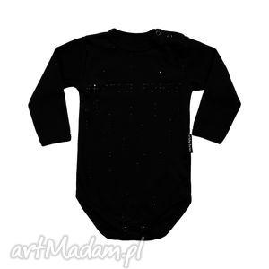 czarne body dla niemowląt i dzieci z długim rękawem - braille, body, kropki