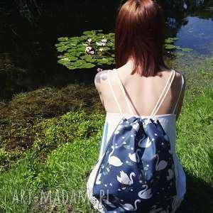 ręcznie zrobione plecaki worek plecak wodoodporny łabędzie lilie wodne