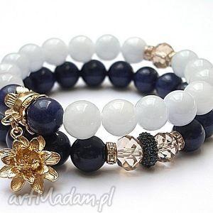 prezent na święta, navy blue - duo 08-2014 , jadeity, kryształki bransoletki