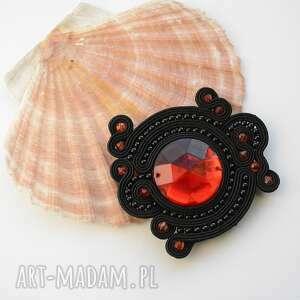 broszka sutasz czarno czerwona - sutasz, broszka, elegancka, modna