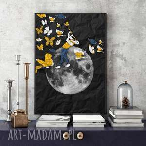 ręcznie robione grafika zaklinacz motyli... 30x40 cm