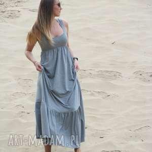 lalu sukienki długa dzianinowa sukienka z falbaną, lalu, sukienka, dzianina, bawełna