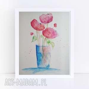 kwiaty-akwarela formatu 21/28,4 cm, akwarela, papier, kwiaty