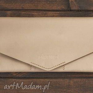 oryginalny prezent, kopertówka kremowa , portfel, portfelik, kopertówka, skóra