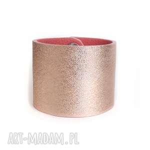 bransoleta skórzana mankiet różowe złoto, rose, mankiet