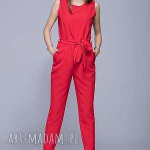 mhm harrmony elegancki kombinezon czerwony h023, kombinezon, długie spodnie, pasek