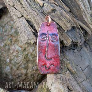 wisior emaliowany z miedzi twarz, emalia, miedź, art, sztuka, face