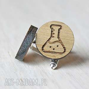 dębowe spinki do mankietów kolba dla chemika, spinki, drewniane, drewno