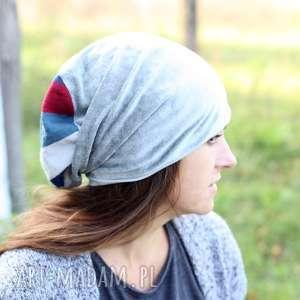 czapka dzianinowa szara aksamitka - czapka, dzianina, etno, ciepła, aksamitka