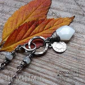 handmade naszyjniki asymetryczny naszyjnik - srebro i kamień księżycowy
