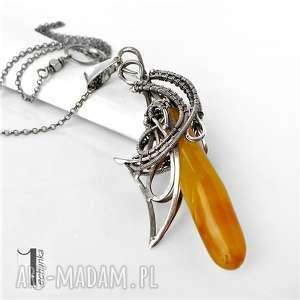 złoty anioł srebrny naszyjnikz bursztynem - baśniowy, wirewrapping