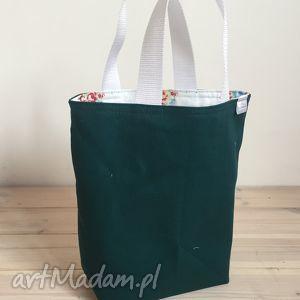 unikalny prezent, lunchbag zielone kwiatki, śniadanie, torebka, kanapki, lunch
