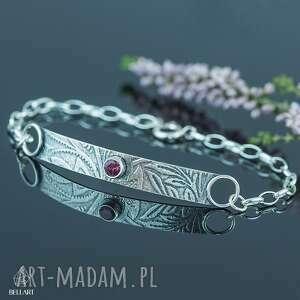Srebrna bransoletka z rodolitem pracownia bellart bransoletka