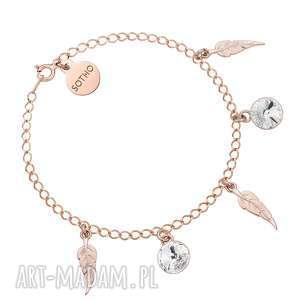 Bransoletka z piórkami z różowego złota i bezbarwnymi kryształami SWAROVSKI® CRYSTAL