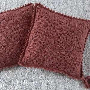 hand-made poduszki robione ręcznie wełna 40x40 cm 2szt