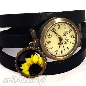 słonecznik - zegarek bransoletka na skórzanym pasku, kwiatami