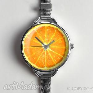 hand made zegarki zegarek pomarańcza z dużą tarczką - 0816ws