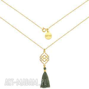 ręcznie robione naszyjniki złoty naszyjnik z szarym chwostem i rozetką